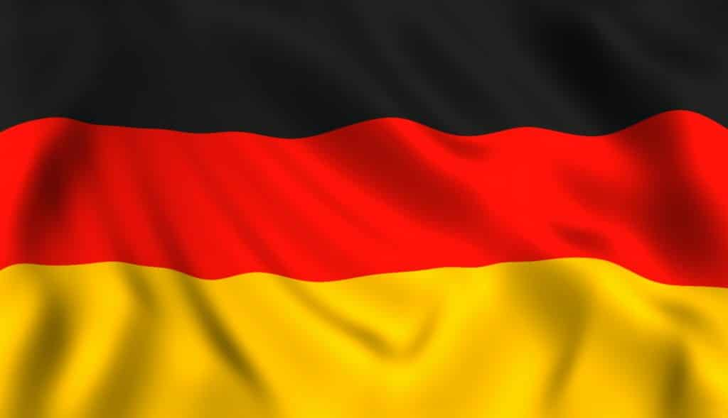 Bandiera tedesca sventolante simbolo della Germania